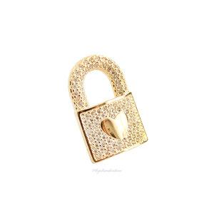 Pingente Cadeado Coração Cravejado Ouro