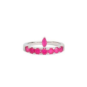 Anel Gota Navete Pink/Rubi