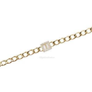 Pulseira Prata 925 Chain Ouro Detalhe Baguetes