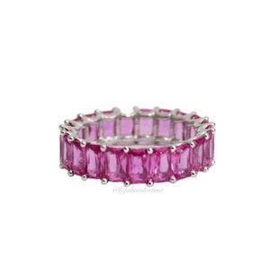 Aliança Prata 925 Retangular Turmalina Pink