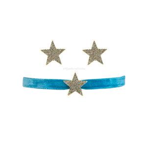 Kit Brinco e Choker Estrelas Veludo - Azul