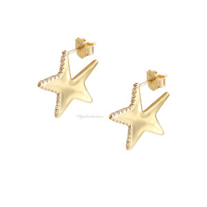 Brinco Prata 925 Forma Estrela Ouro