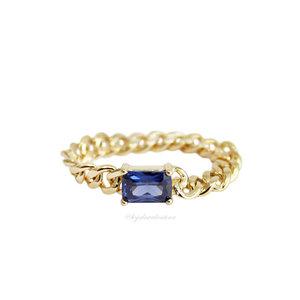 Anel PRATA 925 Chain Baguete Safira Ouro
