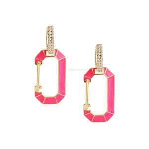 Brinco Trend Locker Chanfrado Pink Neon - Ouro