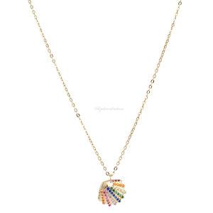 Colar Prata 925 Summer Concha Rainbow Ouro