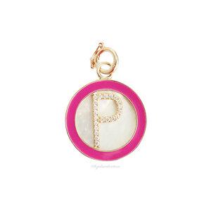 Pingente Prata 925 Medalha Madreperola Letra Esmaltada - Pink