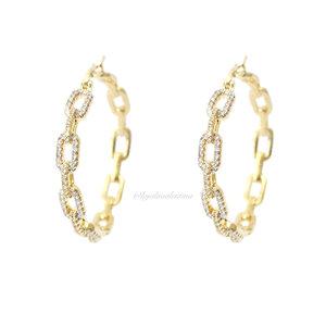 Argola Chain Cravação Frontal Ouro