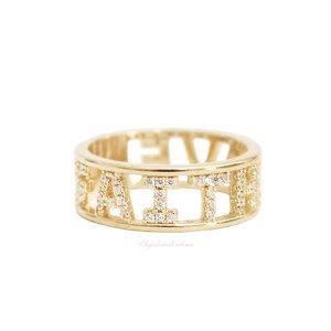 Anel PRATA 925 Faith & Love Ouro