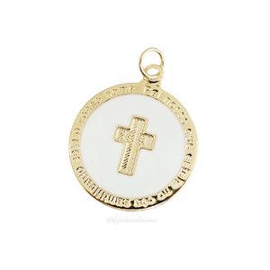 Pingente Medalha Cruz Esmaltada - Ouro