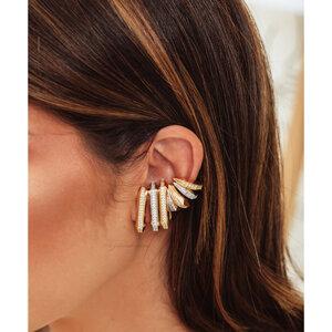 Brinco Ear Hook Fake Chanfrado Ouro 18k - UNITÁRIO
