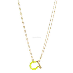Colar Fecho Locker Esmaltado Neon - Ouro
