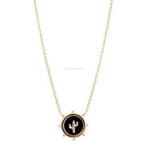Colar Medalhinha Cacto Black Ouro
