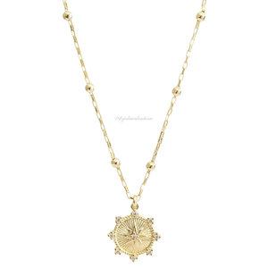 Colar Corrente Bolinhas Medalha Estrela Ouro