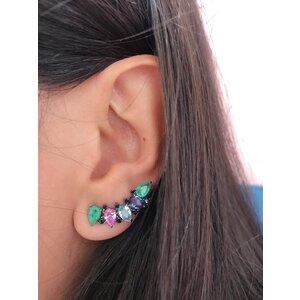 Brinco Ear Cuff Negro 5 Gotas Colors