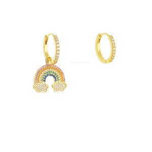 Argolinha Fun Pingente Rainbow - Ouro