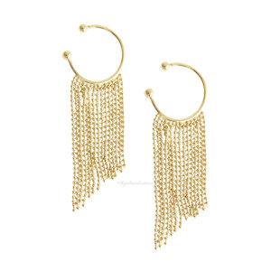 Brinco Ear Hook DE ENCAIXE Franjas - Ouro