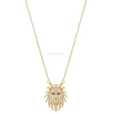 Colar Leão Cravejado New Ouro