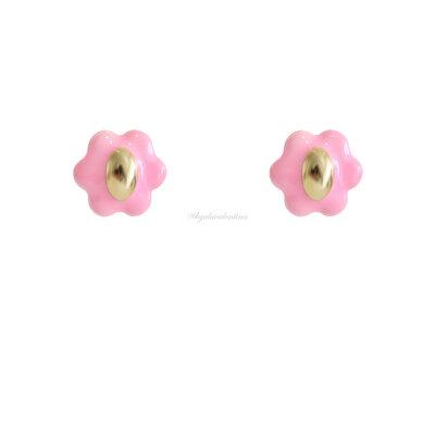 Brinco Blooming Botão Esmaltado - Rosa Chiclete