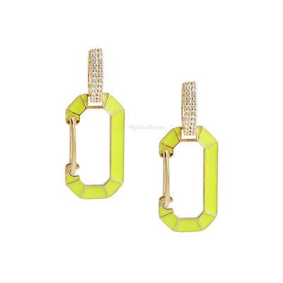 Brinco Trend Locker Chanfrado Neon - Ouro