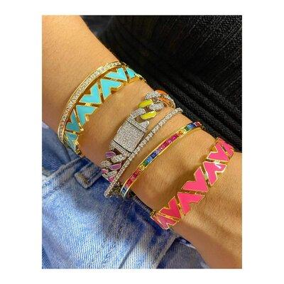 Pulseira STEPHANIE Chain Glam Elos Esmaltados Coloridos
