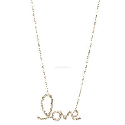 Colar Prata 925 Love Manuscrito Ouro