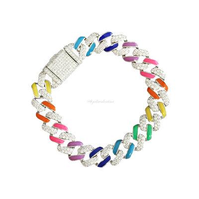 Pulseira Chain Glam Elos Esmaltados Coloridos