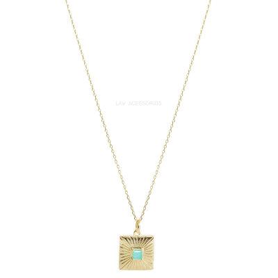 Colar Medalhinha Quadrada Pedra Fusion - Turmalina
