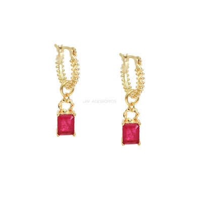 Argolinha Gipsy Pedra Retangular Pink