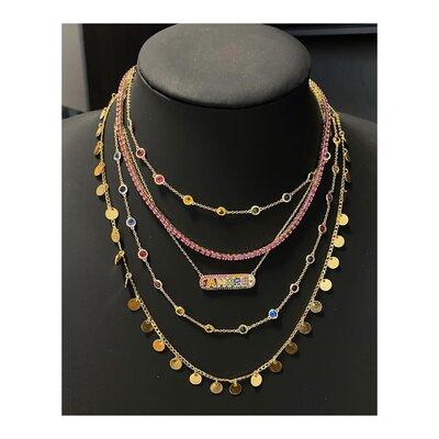Colar Tiff Prata 925 Multi Zirconias - 80 cm Rainbow Ouro