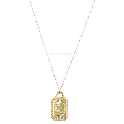 Colar Longo Delicado Plaquet Vintage Love Ouro