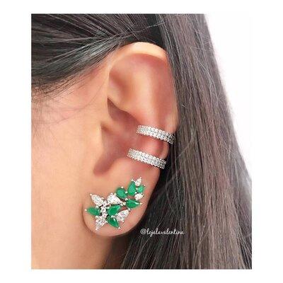 Brinco Ear Cuff Gotas Estilizadas Esmeralda