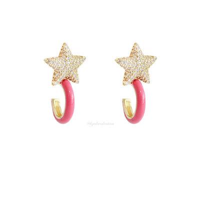 Brinco 2 em 1 Estrela Fun Esmaltado Pink