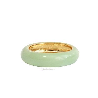 Anel Fun Esmaltado Ouro - Verde Pistache