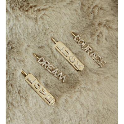 Pingente Prata 925 Plaquinha LOVE - Dourada