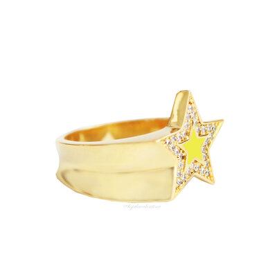 Anel Cool Estrela Esmaltada Ouro - Neon