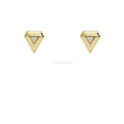 Brinco Triângulo Cristal Gold