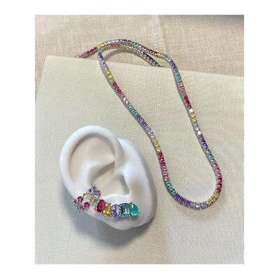 Brinco PRATA 925 Ear Cuff Pedras Candy Colors 2