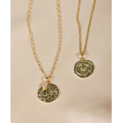 Colar Medalha Organic Lua Estrelas - 60 cm