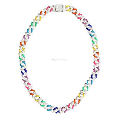 Colar Chain Glam Elos Esmaltados Coloridos