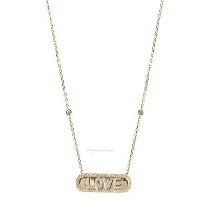Colar Plaquinha LOVE Prata 925 Ouro