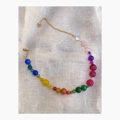 Colar Curto Pedras Naturais Multi Colors
