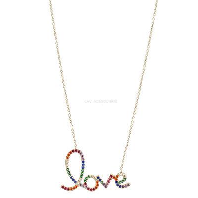 Colar Prata 925 Love Manuscrito Rainbow