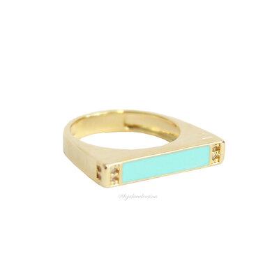 Anel Flat Esmaltado Ouro - Azul Tiff