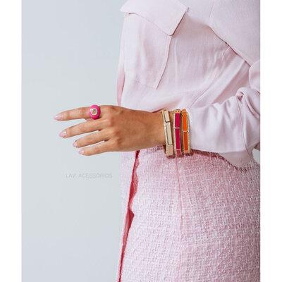 Anel Esmaltado Pedra Fusion - Pink
