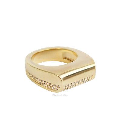 Anel Vintage Bold Cravejado Ouro