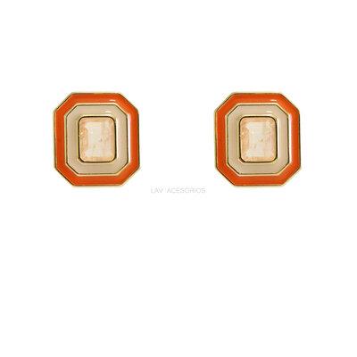 Brinco Oct Esmaltado Pedra Fusion - Laranja