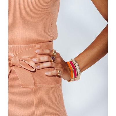 Bracelete Esmaltado Shine Sextavado - Pink