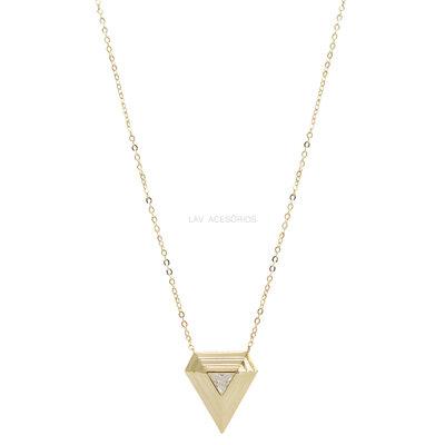 Colar Triângulo Cristal Gold