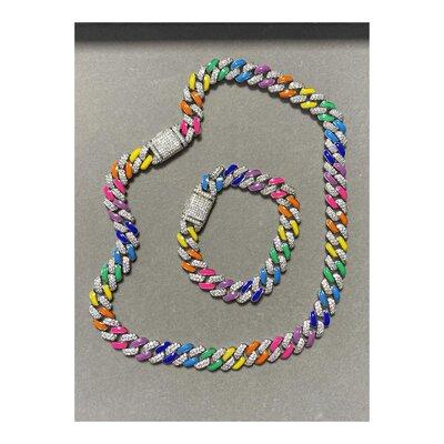 Colar STEPHANIE Chain Glam Elos Esmaltados Coloridos