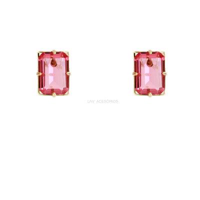 Brinco Pedra Glam Retangular Rosa